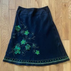 Sunny Leigh Silk Embroidered Floral Skirt size 4